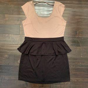 Peplum Tan and black dress